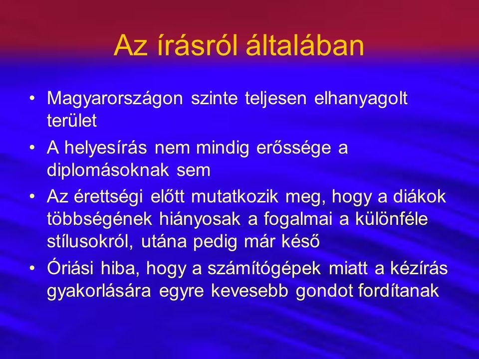 Az írásról általában Magyarországon szinte teljesen elhanyagolt terület A helyesírás nem mindig erőssége a diplomásoknak sem Az érettségi előtt mutatk