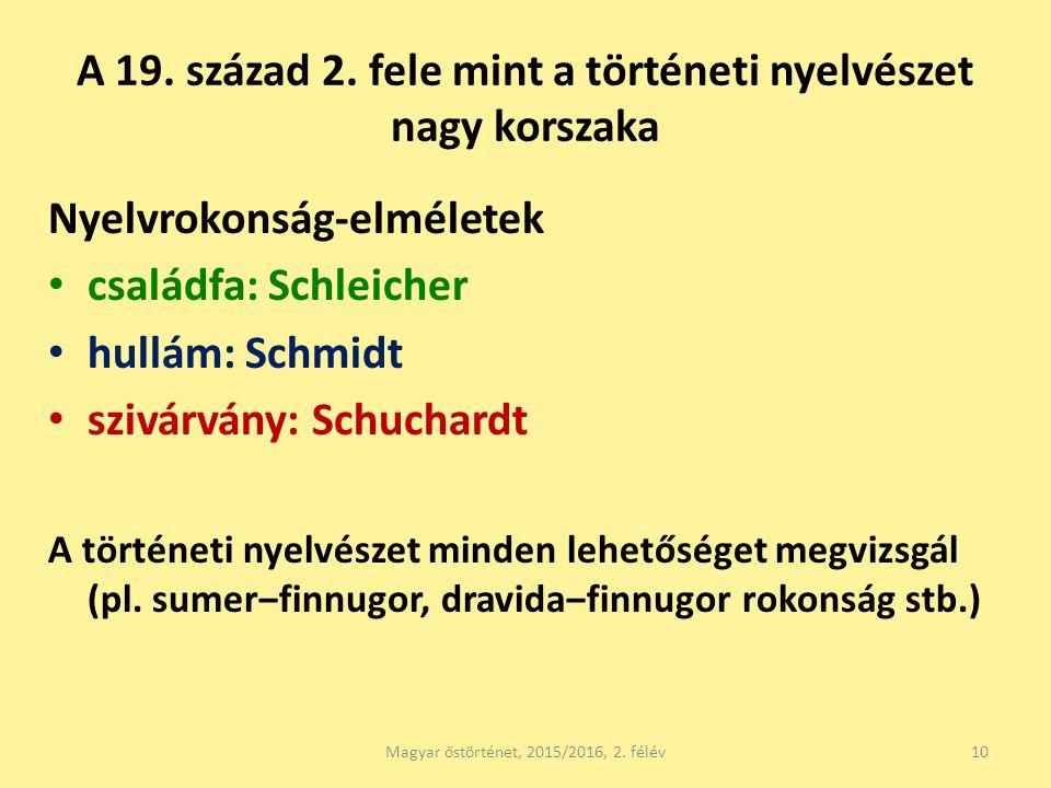 A 19. század 2. fele mint a történeti nyelvészet nagy korszaka Nyelvrokonság-elméletek családfa: Schleicher hullám: Schmidt szivárvány: Schuchardt A t