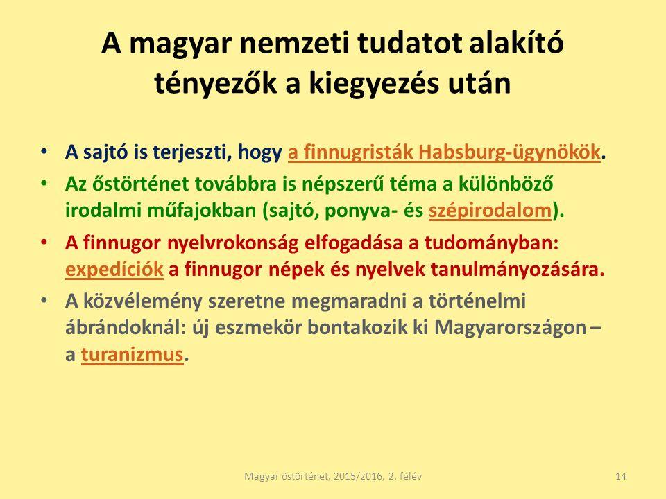 A magyar nemzeti tudatot alakító tényezők a kiegyezés után A sajtó is terjeszti, hogy a finnugristák Habsburg-ügynökök.a finnugristák Habsburg-ügynökök Az őstörténet továbbra is népszerű téma a különböző irodalmi műfajokban (sajtó, ponyva- és szépirodalom).szépirodalom A finnugor nyelvrokonság elfogadása a tudományban: expedíciók a finnugor népek és nyelvek tanulmányozására.