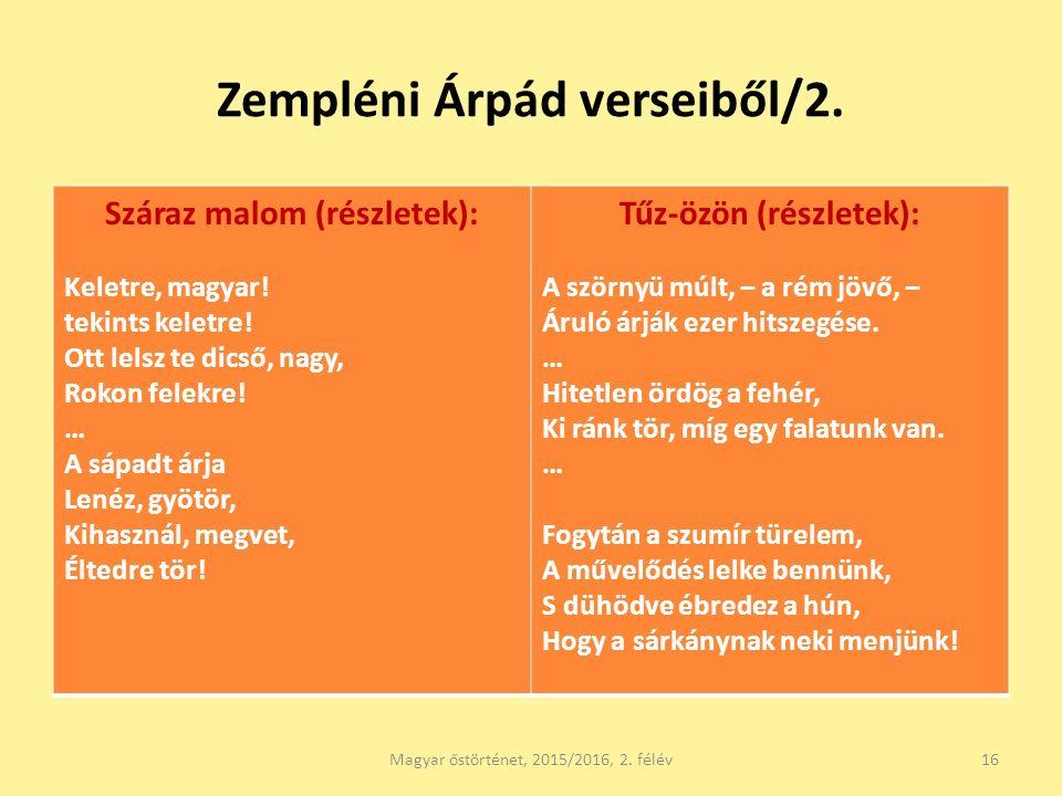 Zempléni Árpád verseiből/2. Száraz malom (részletek): Keletre, magyar.