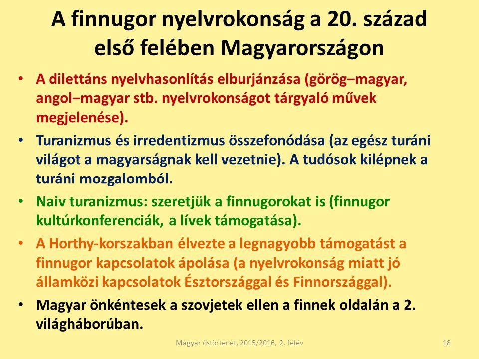 A finnugor nyelvrokonság a 20. század első felében Magyarországon A dilettáns nyelvhasonlítás elburjánzása (görög‒magyar, angol‒magyar stb. nyelvrokon