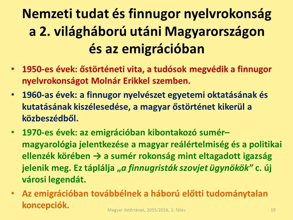 Nemzeti tudat és finnugor nyelvrokonság a 2. világháború utáni Magyarországon és az emigrációban 1950-es évek: őstörténeti vita, a tudósok megvédik a