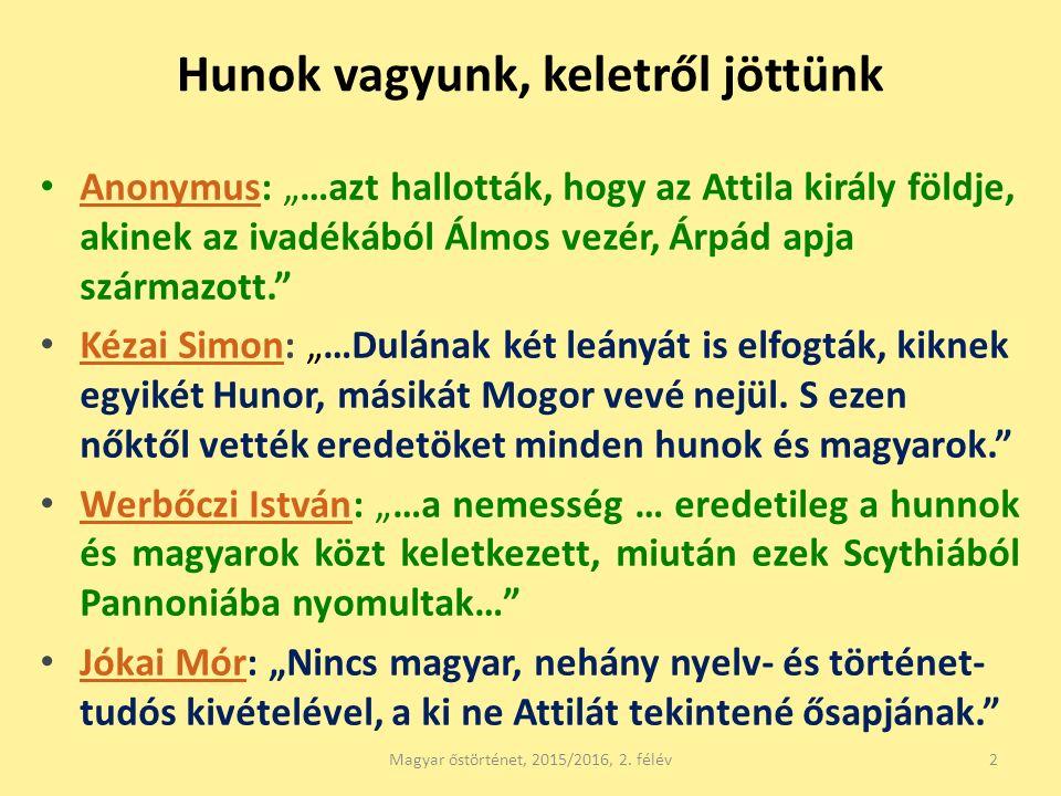 """Hunok vagyunk, keletről jöttünk Anonymus: """"…azt hallották, hogy az Attila király földje, akinek az ivadékából Álmos vezér, Árpád apja származott."""" Ano"""