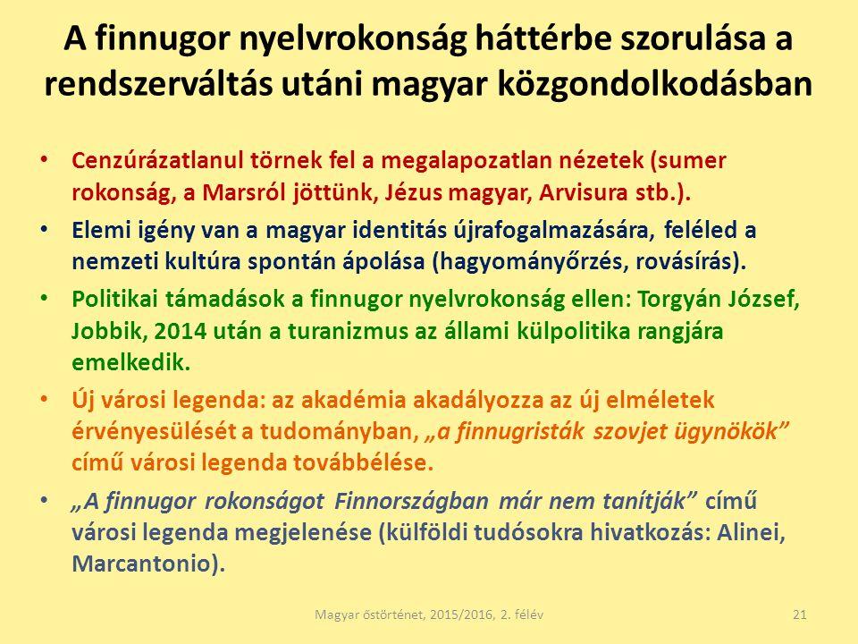 A finnugor nyelvrokonság háttérbe szorulása a rendszerváltás utáni magyar közgondolkodásban Cenzúrázatlanul törnek fel a megalapozatlan nézetek (sumer rokonság, a Marsról jöttünk, Jézus magyar, Arvisura stb.).