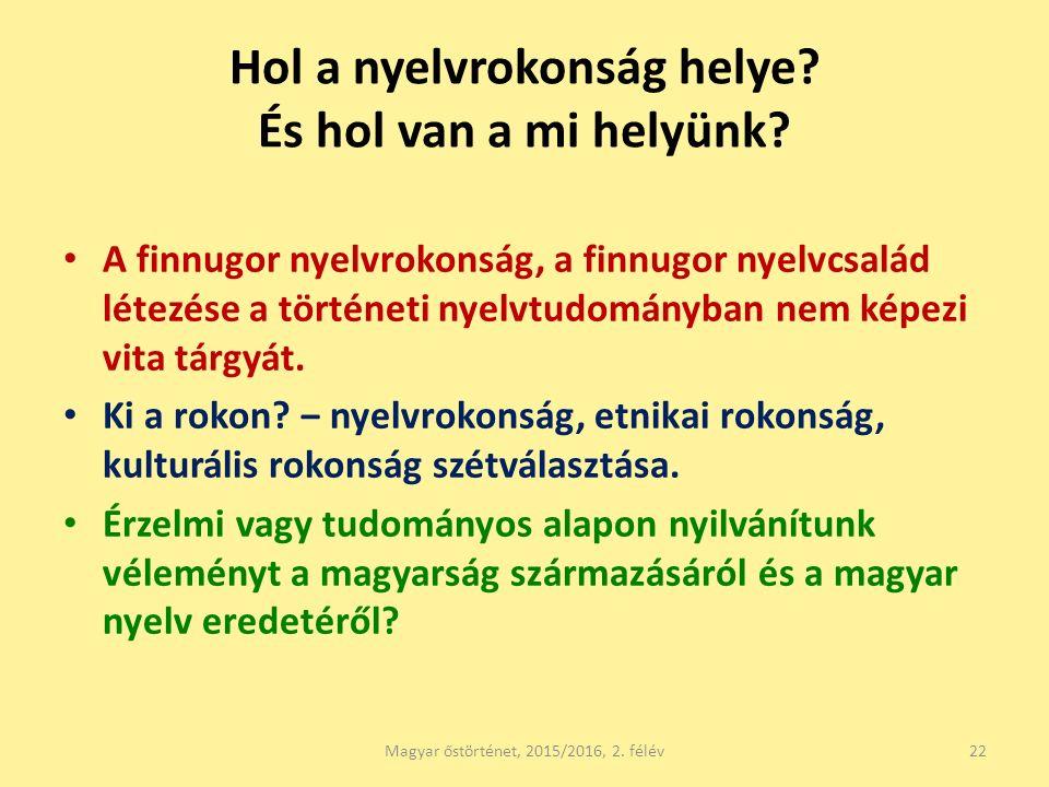Hol a nyelvrokonság helye? És hol van a mi helyünk? A finnugor nyelvrokonság, a finnugor nyelvcsalád létezése a történeti nyelvtudományban nem képezi