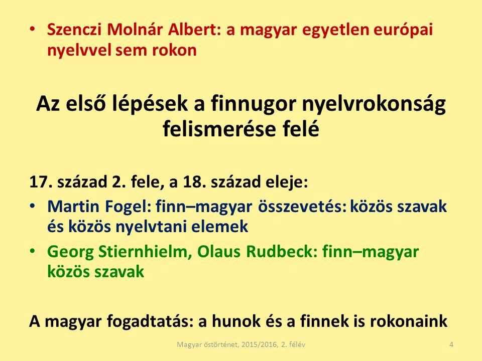 Szenczi Molnár Albert: a magyar egyetlen európai nyelvvel sem rokon Az első lépések a finnugor nyelvrokonság felismerése felé 17. század 2. fele, a 18