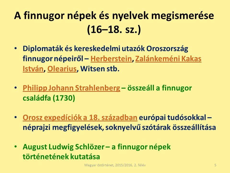 A finnugor népek és nyelvek megismerése (16–18.