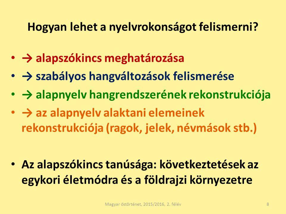 Hogyan lehet a nyelvrokonságot felismerni? → alapszókincs meghatározása → szabályos hangváltozások felismerése → alapnyelv hangrendszerének rekonstruk