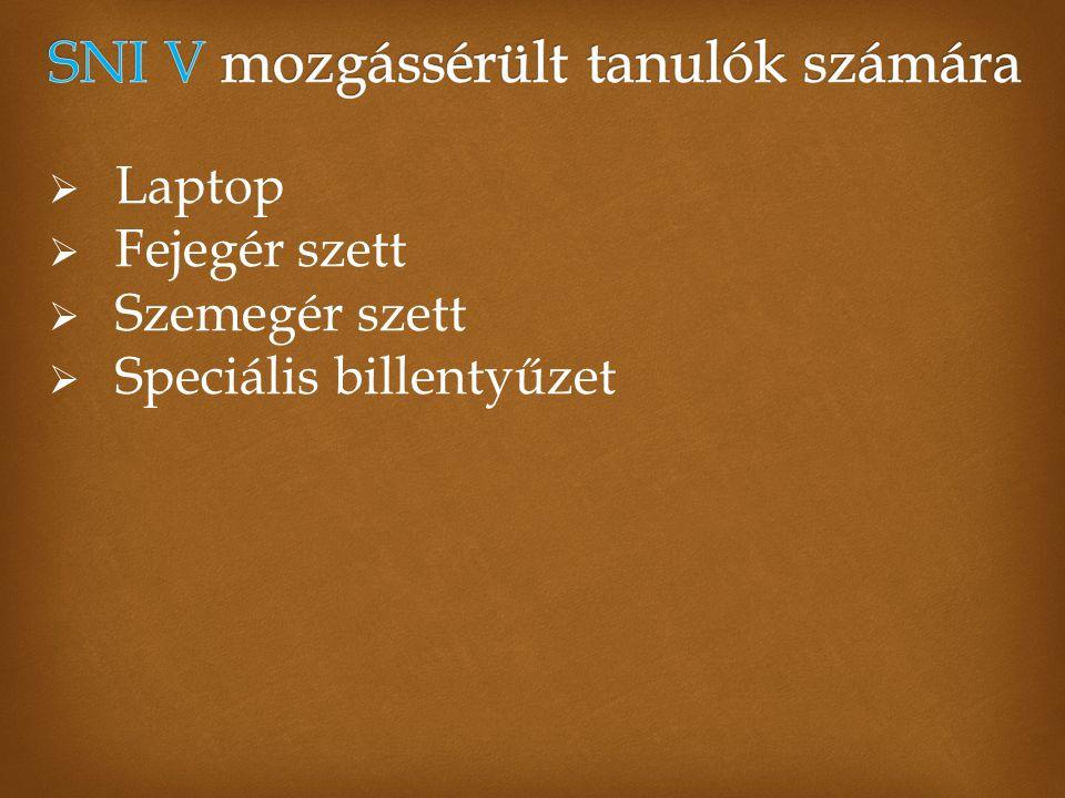  Laptop  Fejegér szett  Szemegér szett  Speciális billentyűzet