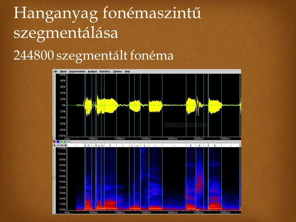 Hanganyag fonémaszintű szegmentálása 244800 szegmentált fonéma
