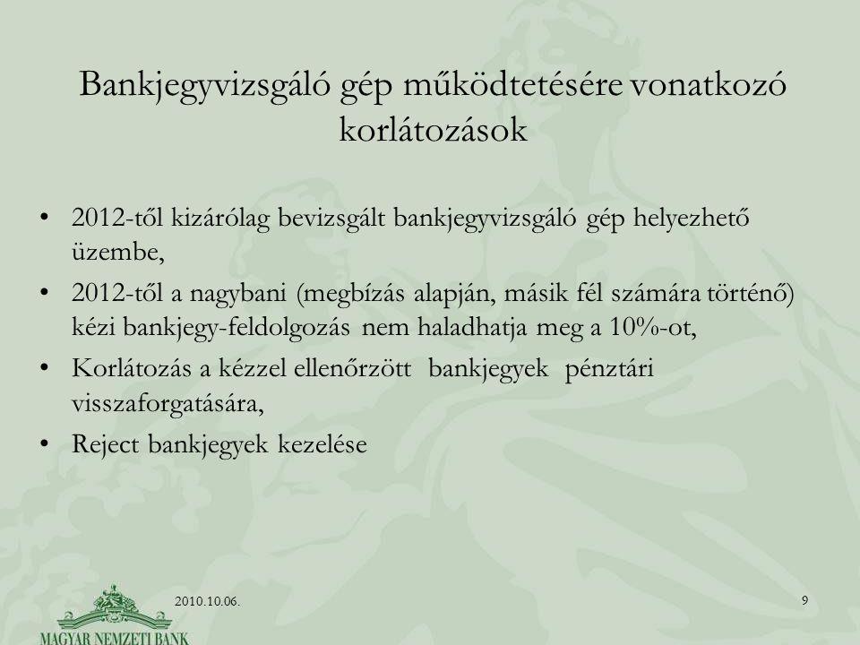 Bankjegyvizsgáló gép működtetésére vonatkozó korlátozások 2012-től kizárólag bevizsgált bankjegyvizsgáló gép helyezhető üzembe, 2012-től a nagybani (m