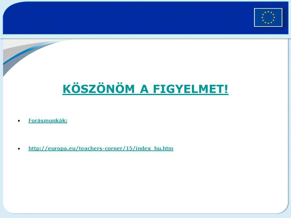 KÖSZÖNÖM A FIGYELMET! Forásmunkák:Forásmunkák: http://europa.eu/teachers-corner/15/index_hu.htm