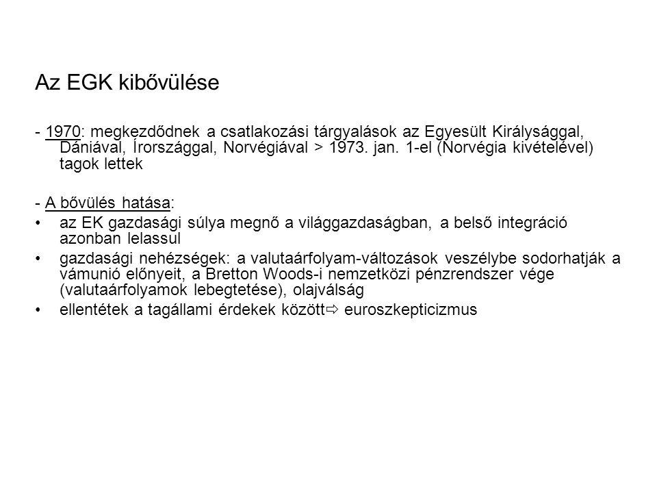 Az EGK kibővülése - 1970: megkezdődnek a csatlakozási tárgyalások az Egyesült Királysággal, Dániával, Írországgal, Norvégiával > 1973.