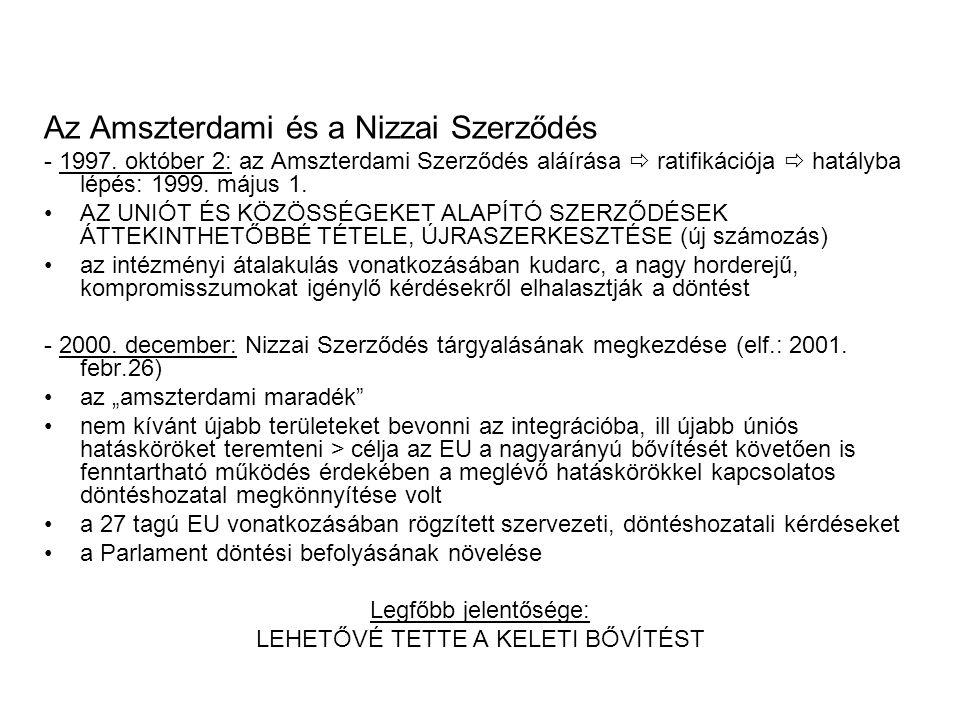 Az Amszterdami és a Nizzai Szerződés - 1997.