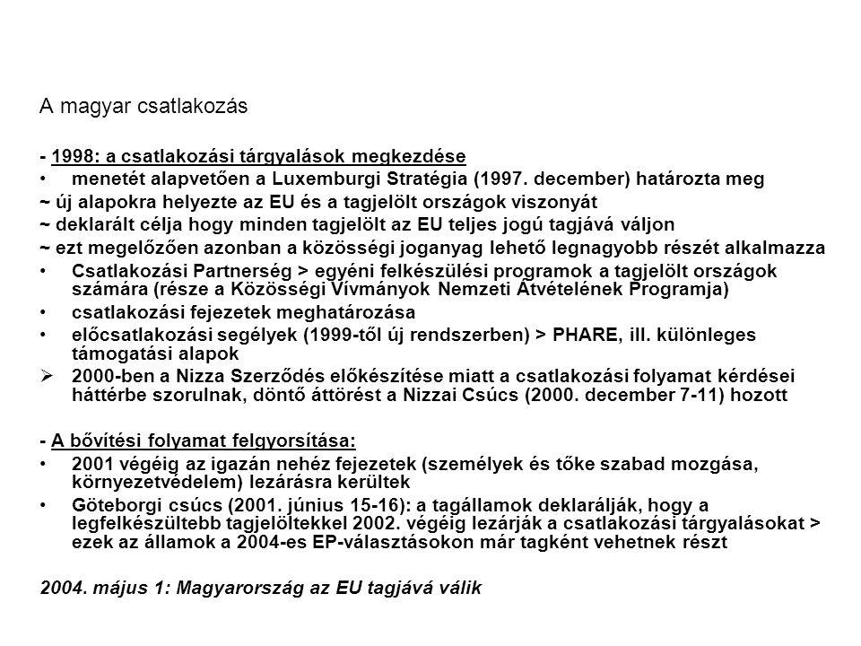 A magyar csatlakozás - 1998: a csatlakozási tárgyalások megkezdése menetét alapvetően a Luxemburgi Stratégia (1997.