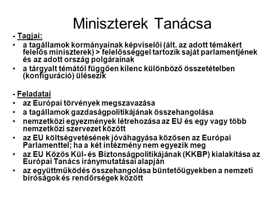 Miniszterek Tanácsa - Tagjai: a tagállamok kormányainak képviselői (ált.