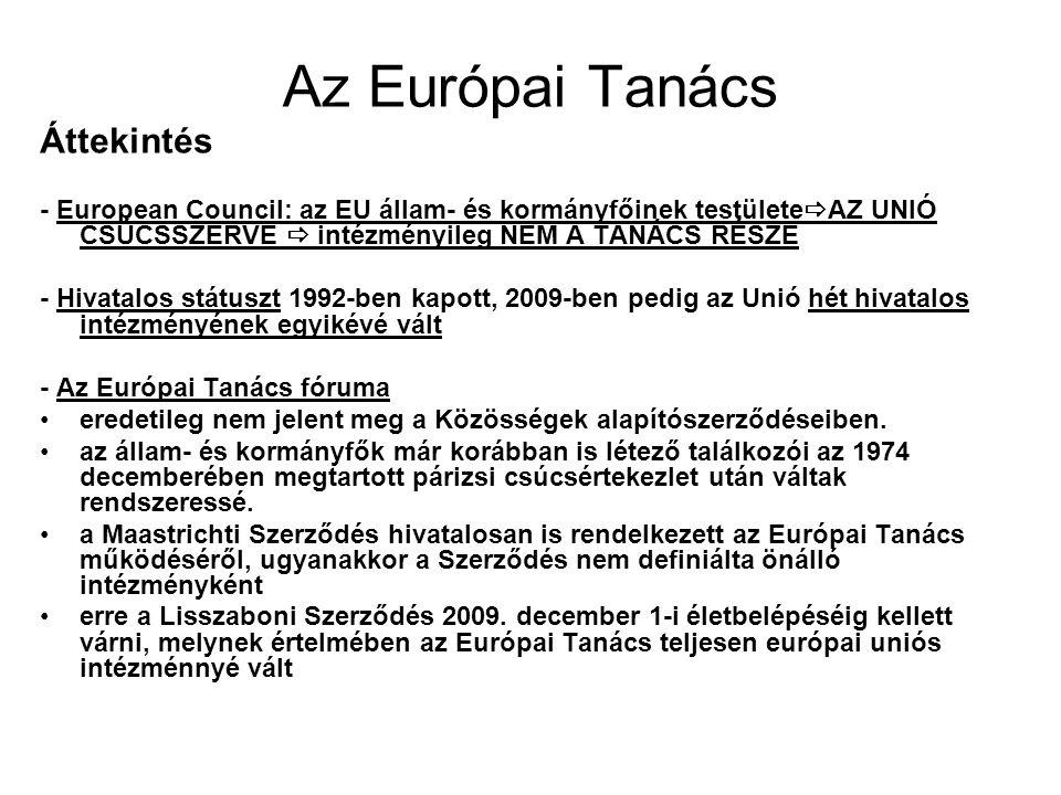 Az Európai Tanács Áttekintés - European Council: az EU állam- és kormányfőinek testülete  AZ UNIÓ CSÚCSSZERVE  intézményileg NEM A TANÁCS RÉSZE - Hivatalos státuszt 1992-ben kapott, 2009-ben pedig az Unió hét hivatalos intézményének egyikévé vált - Az Európai Tanács fóruma eredetileg nem jelent meg a Közösségek alapítószerződéseiben.