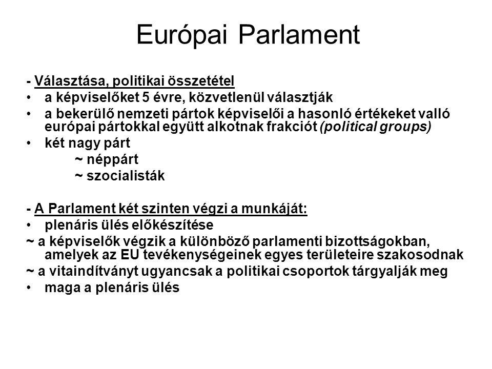 Európai Parlament - Választása, politikai összetétel a képviselőket 5 évre, közvetlenül választják a bekerülő nemzeti pártok képviselői a hasonló értékeket valló európai pártokkal együtt alkotnak frakciót (political groups) két nagy párt ~ néppárt ~ szocialisták - A Parlament két szinten végzi a munkáját: plenáris ülés előkészítése ~ a képviselők végzik a különböző parlamenti bizottságokban, amelyek az EU tevékenységeinek egyes területeire szakosodnak ~ a vitaindítványt ugyancsak a politikai csoportok tárgyalják meg maga a plenáris ülés