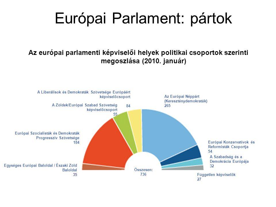 Európai Parlament: pártok A Zöldek/Európai Szabad Szövetség képviselőcsoport 55 Európai Konzervatívok és Reformisták Csoportja 54 A Liberálisok és Demokraták Szövetsége Európáért képviselőcsoport 84 Az Európai Néppárt (Kereszténydemokraták) 265 Független képviselők 27 Összesen: 736 Európai Szocialisták és Demokraták Progresszív Szövetsége 184 Egységes Európai Baloldal / Északi Zöld Baloldal 35 A Szabadság és a Demokrácia Európája 32 Az európai parlamenti képviselői helyek politikai csoportok szerinti megoszlása (2010.