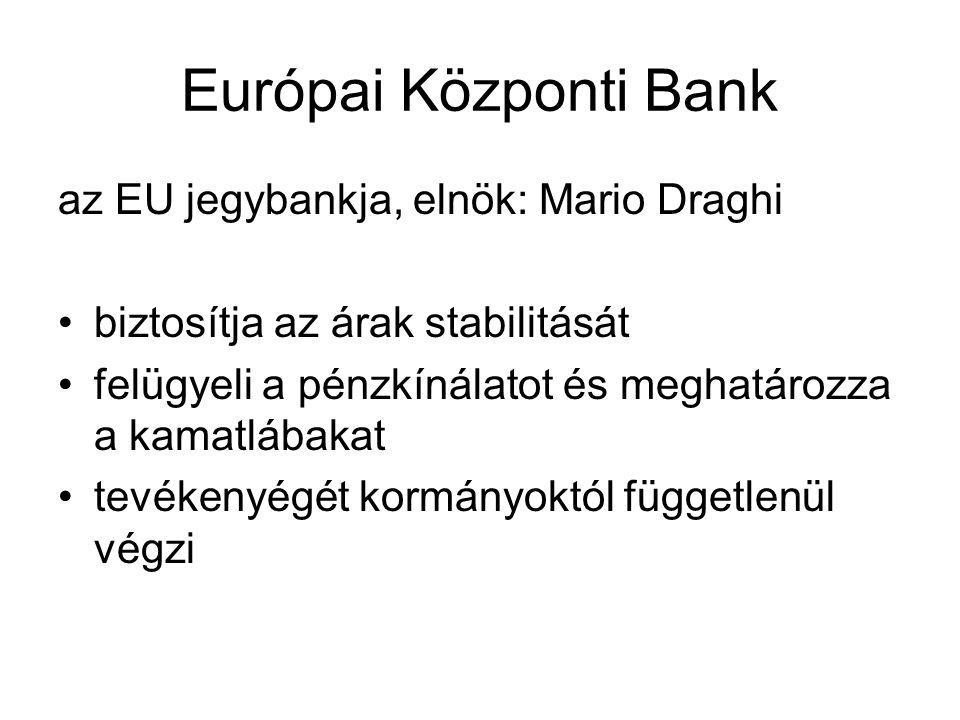 Európai Központi Bank az EU jegybankja, elnök: Mario Draghi biztosítja az árak stabilitását felügyeli a pénzkínálatot és meghatározza a kamatlábakat tevékenyégét kormányoktól függetlenül végzi