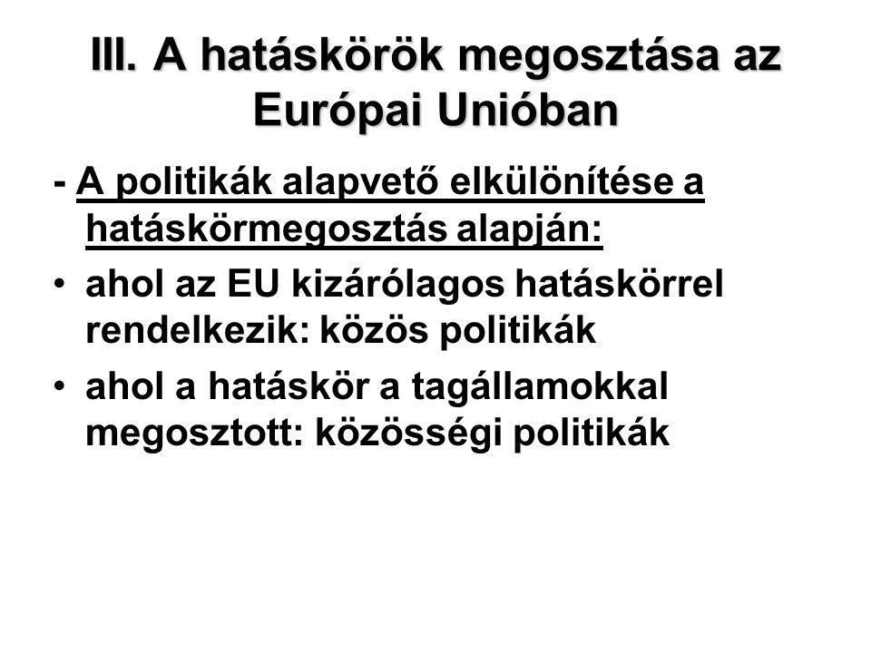 III. A hatáskörök megosztása az Európai Unióban - A politikák alapvető elkülönítése a hatáskörmegosztás alapján: ahol az EU kizárólagos hatáskörrel re