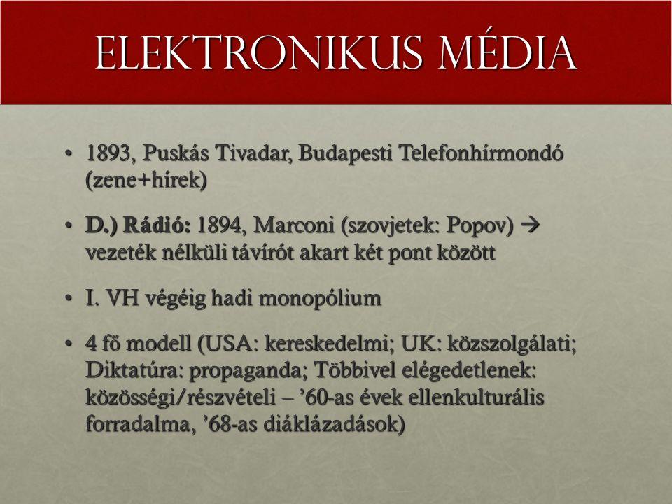 Elektronikus média 1893, Puskás Tivadar, Budapesti Telefonhírmondó (zene+hírek)1893, Puskás Tivadar, Budapesti Telefonhírmondó (zene+hírek) D.) Rádió: 1894, Marconi (szovjetek: Popov)  vezeték nélküli távírót akart két pont között D.) Rádió: 1894, Marconi (szovjetek: Popov)  vezeték nélküli távírót akart két pont között I.