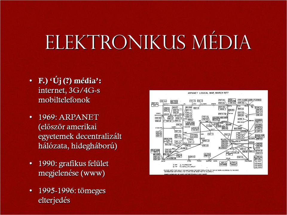 Elektronikus média F.) 'Új (?) média': internet, 3G/4G-s mobiltelefonok F.) 'Új (?) média': internet, 3G/4G-s mobiltelefonok 1969: ARPANET (el ő ször amerikai egyetemek decentralizált hálózata, hidegháború)1969: ARPANET (el ő ször amerikai egyetemek decentralizált hálózata, hidegháború) 1990: grafikus felület megjelenése (www)1990: grafikus felület megjelenése (www) 1995-1996: tömeges elterjedés1995-1996: tömeges elterjedés
