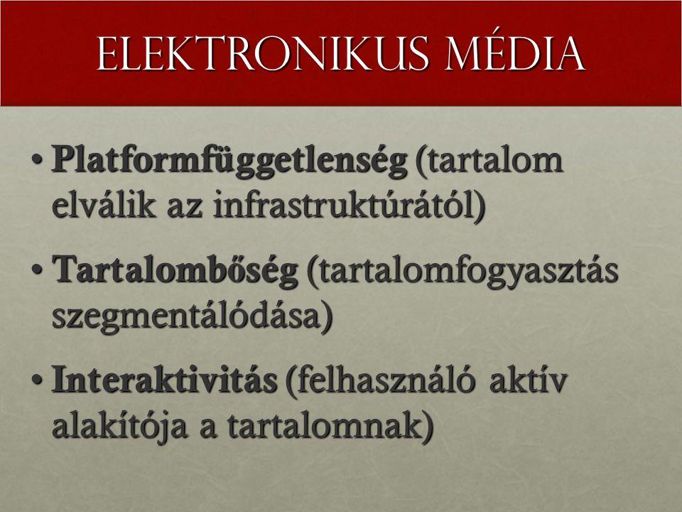 Elektronikus média Platformfüggetlenség (tartalom elválik az infrastruktúrától) Platformfüggetlenség (tartalom elválik az infrastruktúrától) Tartalomb ő ség (tartalomfogyasztás szegmentálódása) Tartalomb ő ség (tartalomfogyasztás szegmentálódása) Interaktivitás (felhasználó aktív alakítója a tartalomnak) Interaktivitás (felhasználó aktív alakítója a tartalomnak)