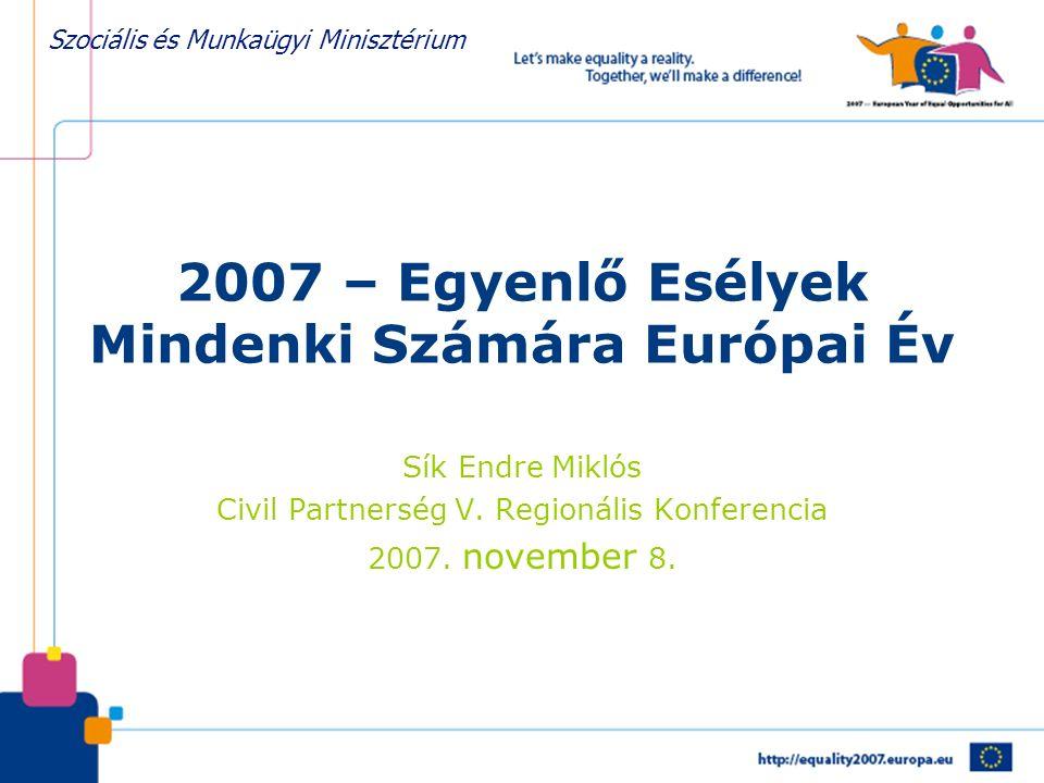 Szociális és Munkaügyi Minisztérium 2007 – Egyenlő Esélyek Mindenki Számára Európai Év Sík Endre Miklós Civil Partnerség V. Regionális Konferencia 200