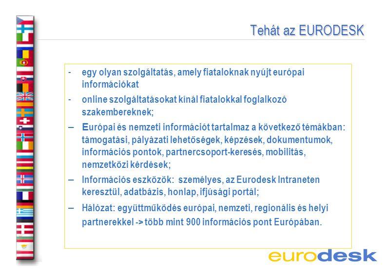 Tehát az EURODESK Tehát az EURODESK - egy olyan szolgáltatás, amely fiataloknak nyújt európai információkat - online szolgáltatásokat kínál fiatalokkal foglalkozó szakembereknek; – E urópai és nemzeti információt tartalmaz a következő témákban: támogatási, pályázati lehetőségek, képzések, dokumentumok, információs pontok, partnercsoport-keresés, mobilitás, nemzetközi kérdések; – Információs eszközök: személyes, az Eurodesk Intraneten keresztül, adatbázis, honlap, ifjúsági portál; – Hálózat: együttműködés európai, nemzeti, regionális és helyi partnerekkel -> több mint 900 információs pont Európában.