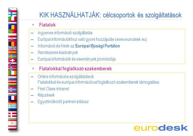 KIK HASZNÁLHATJÁK: célcsoportok és szolgáltatások Fiatalok –Ingyenes információ-szolgáltatás –Európai információkhoz való gyors hozzájutás (www.eurodesk.eu) –Információ és hírek az Európai Ifjúsági Portálon –Rendszeres kiadványok –Európai információk és események promóciója Fiatalokkal foglalkozó szakemberek –Online információs szolgáltatások Fiatalokkal és európai információval foglalkozó szakemberek támogatása –First Class intranet –Képzések –Együttműködő partneri státusz