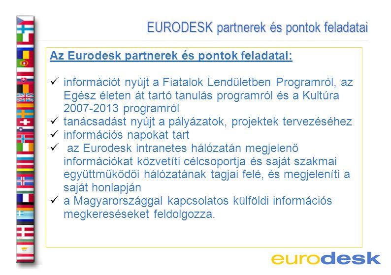 EURODESK partnerek és pontok feladatai EURODESK partnerek és pontok feladatai Az Eurodesk partnerek és pontok feladatai: információt nyújt a Fiatalok Lendületben Programról, az Egész életen át tartó tanulás programról és a Kultúra 2007-2013 programról tanácsadást nyújt a pályázatok, projektek tervezéséhez információs napokat tart az Eurodesk intranetes hálózatán megjelenő információkat közvetíti célcsoportja és saját szakmai együttműködői hálózatának tagjai felé, és megjeleníti a saját honlapján a Magyarországgal kapcsolatos külföldi információs megkereséseket feldolgozza.