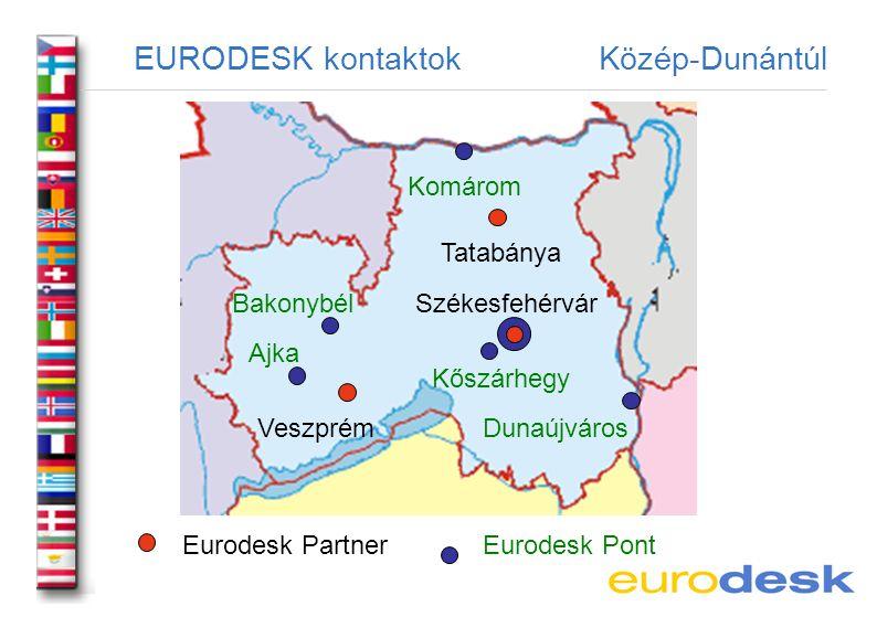 EURODESK kontaktok Közép-Dunántúl Eurodesk PontEurodesk Partner Veszprém Székesfehérvár Tatabánya Bakonybél Komárom Dunaújváros Ajka Kőszárhegy