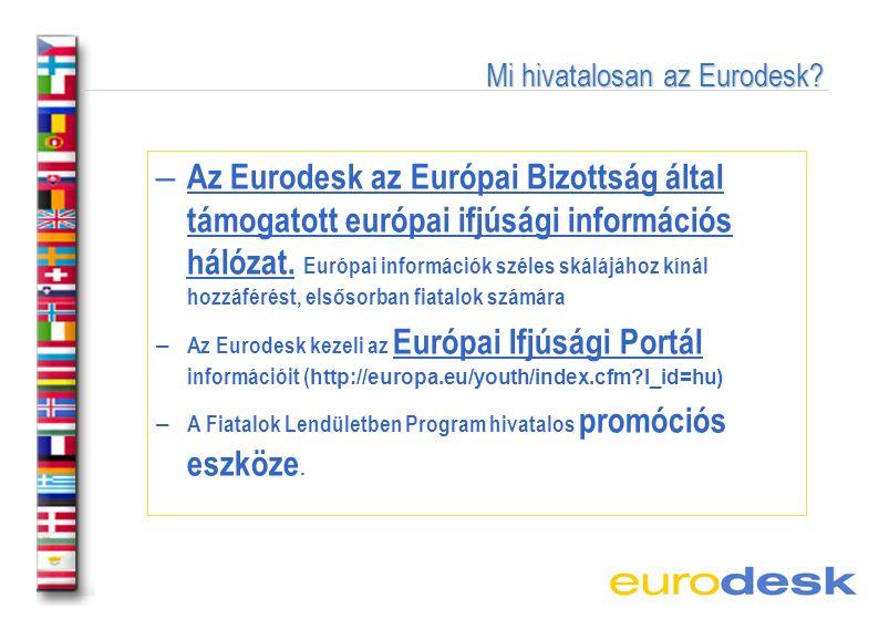 Az EURODESK rövid története – 1990: az Eurodesk létrehozása Skóciában – 1990-1999: európai hálózattá válik a rendszer – 1999: Magyarország is tagja lesz a hálózatnak – 2001: a magyar hálózat kialakítása -> regionális partnerek -> 2002 óta: helyi, szakmai és együttműködő partnerek - 2008: új hálózati struktúra kialakítása (partnerek és pontok létrehozása)