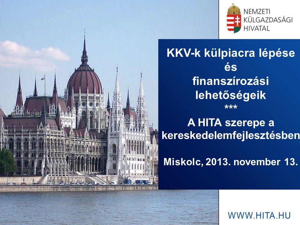 KKV-k külpiacra lépése és finanszírozási lehetőségeik *** A HITA szerepe a kereskedelemfejlesztésben Miskolc, 2013. november 13.