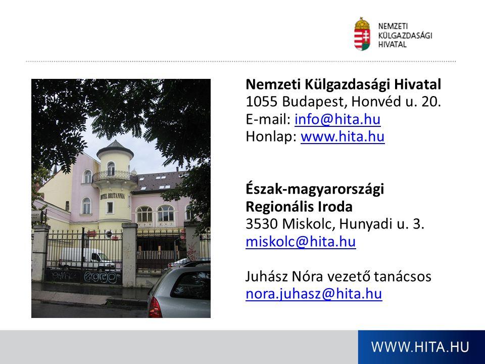 Nemzeti Külgazdasági Hivatal 1055 Budapest, Honvéd u. 20. E-mail: info@hita.huinfo@hita.hu Honlap: www.hita.huwww.hita.hu Észak-magyarországi Regionál