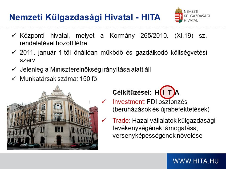 Nemzeti Külgazdasági Hivatal - HITA Központi hivatal, melyet a Kormány 265/2010. (XI.19) sz. rendeletével hozott létre 2011. január 1-től önállóan műk