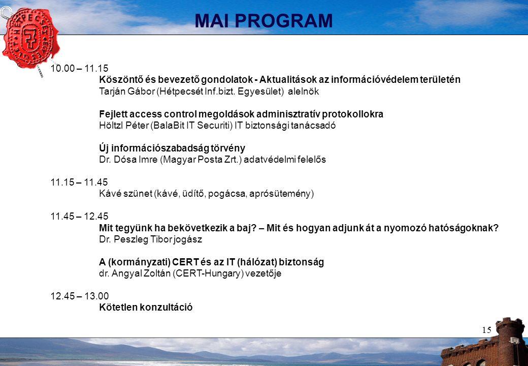 15 MAI PROGRAM 10.00 – 11.15 Köszöntő és bevezető gondolatok - Aktualitások az információvédelem területén Tarján Gábor (Hétpecsét Inf.bizt. Egyesület