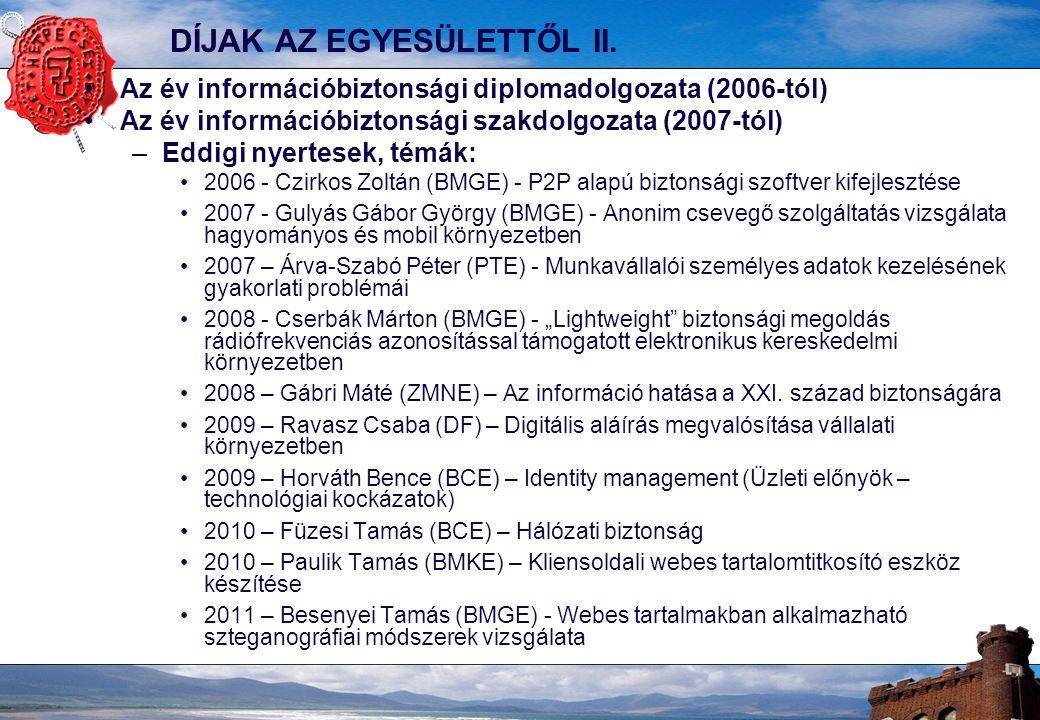 10 A HONLAP: www.hetpecset.hu Nyilvános Hírek Fórum regisztráció Rendezvényeink Alapszabály Belépési nyilatkozat Tagoknak közös hírfigyelés 2007 tavasza óta Információbiztonsági incidensek (347) Szabványos információvédelem (32) Egyéb információbiztonsági események, háttéranyagok (438) Tagoknak közös dokumentumkezelés 2011-től