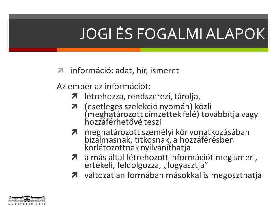 """JOGI ÉS FOGALMI ALAPOK  információ: adat, hír, ismeret Az ember az információt:  létrehozza, rendszerezi, tárolja,  (esetleges szelekció nyomán) közli (meghatározott címzettek felé) továbbítja vagy hozzáférhetővé teszi  meghatározott személyi kör vonatkozásában bizalmasnak, titkosnak, a hozzáférésben korlátozottnak nyilváníthatja  a más által létrehozott információt megismeri, értékeli, feldolgozza, """"fogyasztja  változatlan formában másokkal is megoszthatja"""