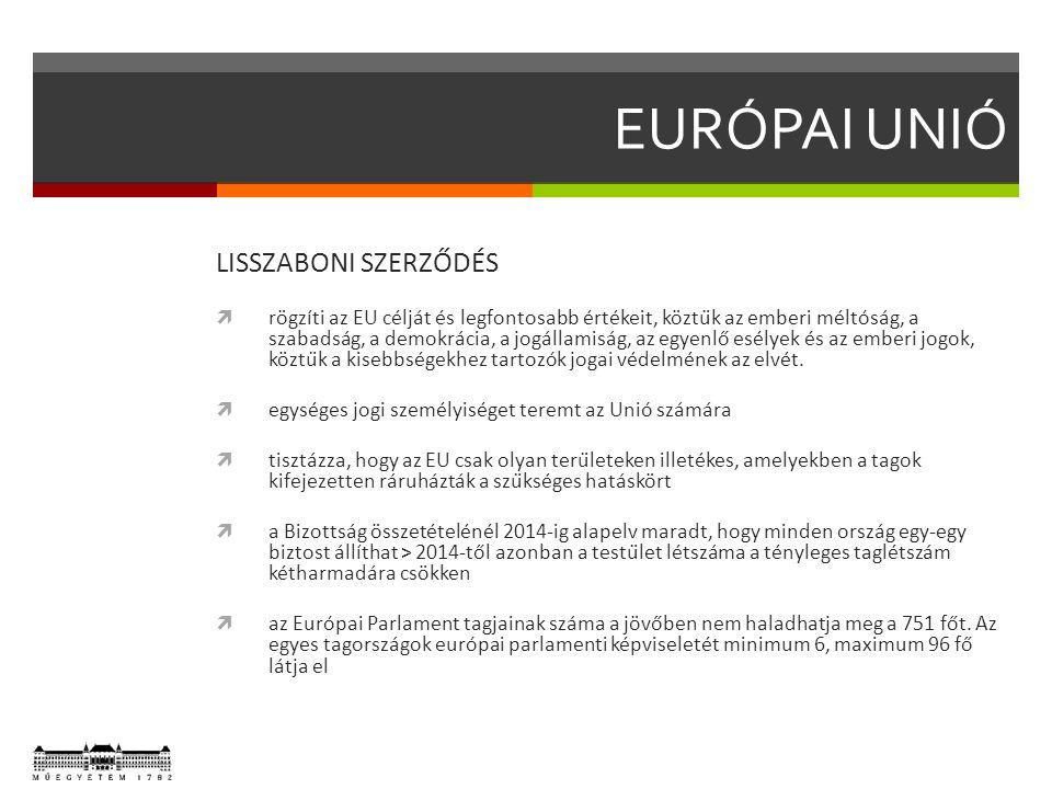 EURÓPAI UNIÓ LISSZABONI SZERZŐDÉS  rögzíti az EU célját és legfontosabb értékeit, köztük az emberi méltóság, a szabadság, a demokrácia, a jogállamiság, az egyenlő esélyek és az emberi jogok, köztük a kisebbségekhez tartozók jogai védelmének az elvét.