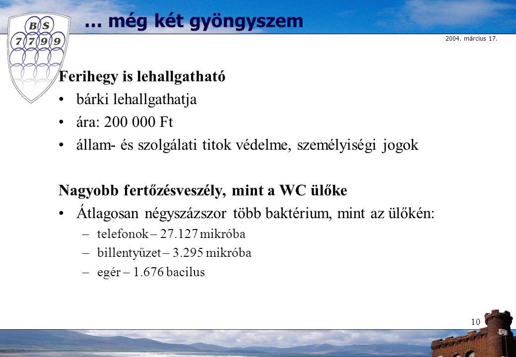 2004. március 17. 10 … még két gyöngyszem Ferihegy is lehallgatható bárki lehallgathatja ára: 200 000 Ft állam- és szolgálati titok védelme, személyis