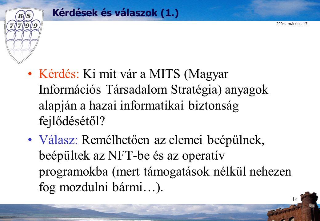 2004. március 17. 14 Kérdések és válaszok (1.) Kérdés: Ki mit vár a MITS (Magyar Információs Társadalom Stratégia) anyagok alapján a hazai informatika
