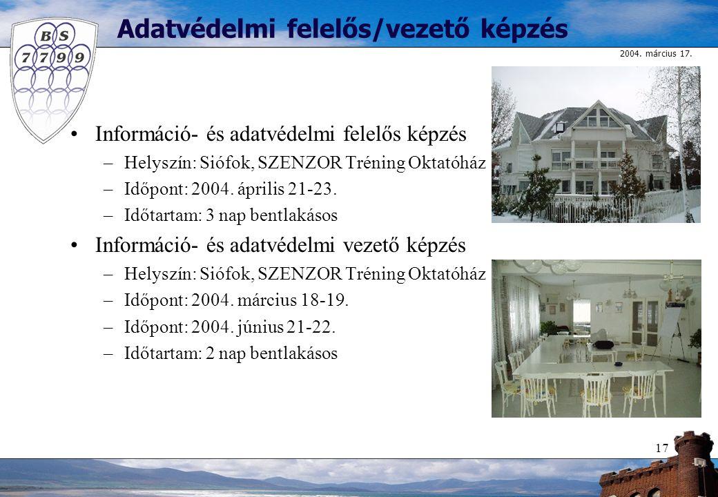 2004. március 17. 17 Adatvédelmi felelős/vezető képzés Információ- és adatvédelmi felelős képzés –Helyszín: Siófok, SZENZOR Tréning Oktatóház –Időpont