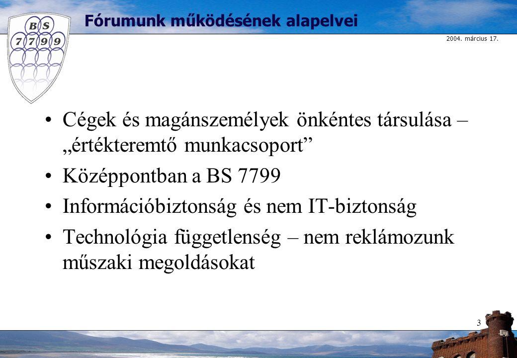 """2004. március 17. 3 Fórumunk működésének alapelvei Cégek és magánszemélyek önkéntes társulása – """"értékteremtő munkacsoport"""" Középpontban a BS 7799 Inf"""