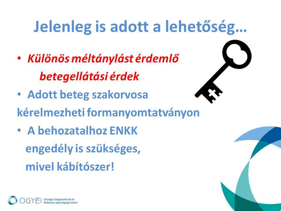 Jelenleg is adott a lehetőség… Különös méltánylást érdemlő betegellátási érdek Adott beteg szakorvosa kérelmezheti formanyomtatványon A behozatalhoz E