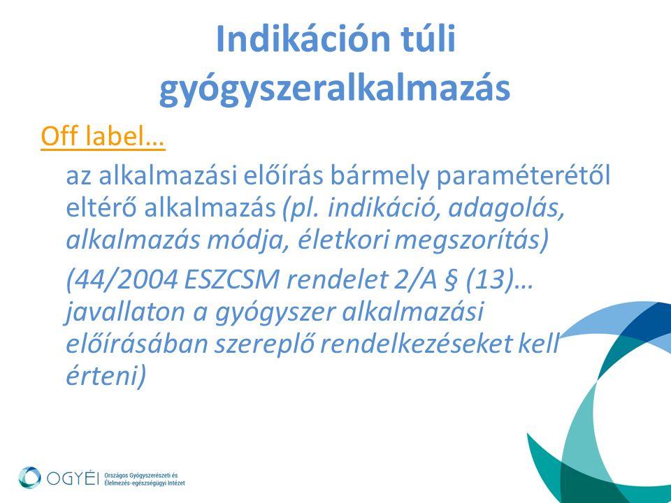 Indikáción túli gyógyszeralkalmazás Off label… az alkalmazási előírás bármely paraméterétől eltérő alkalmazás (pl.