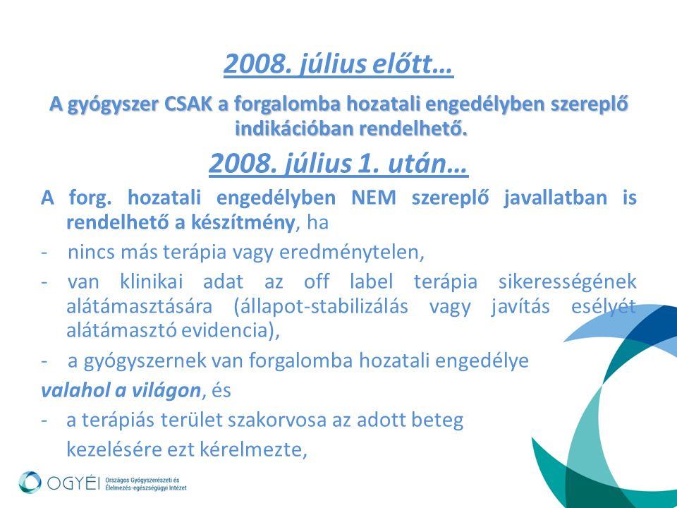 2008. július előtt… A gyógyszer CSAK a forgalomba hozatali engedélyben szereplő indikációban rendelhető. 2008. július 1. után… A forg. hozatali engedé