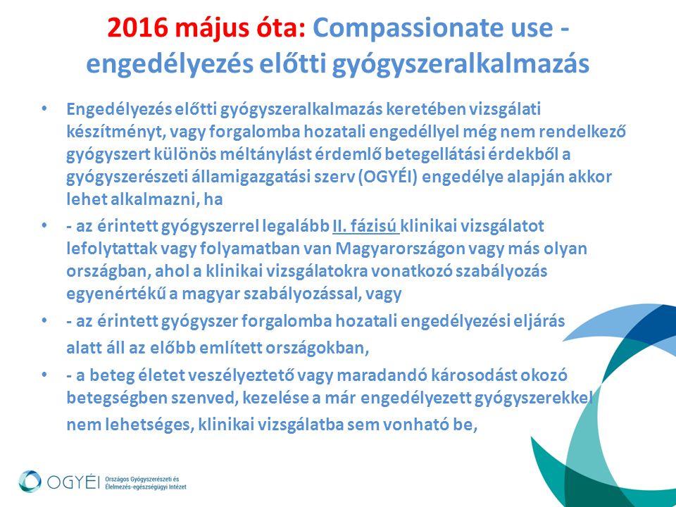 2016 május óta: Compassionate use - engedélyezés előtti gyógyszeralkalmazás Engedélyezés előtti gyógyszeralkalmazás keretében vizsgálati készítményt, vagy forgalomba hozatali engedéllyel még nem rendelkező gyógyszert különös méltánylást érdemlő betegellátási érdekből a gyógyszerészeti államigazgatási szerv (OGYÉI) engedélye alapján akkor lehet alkalmazni, ha - az érintett gyógyszerrel legalább II.