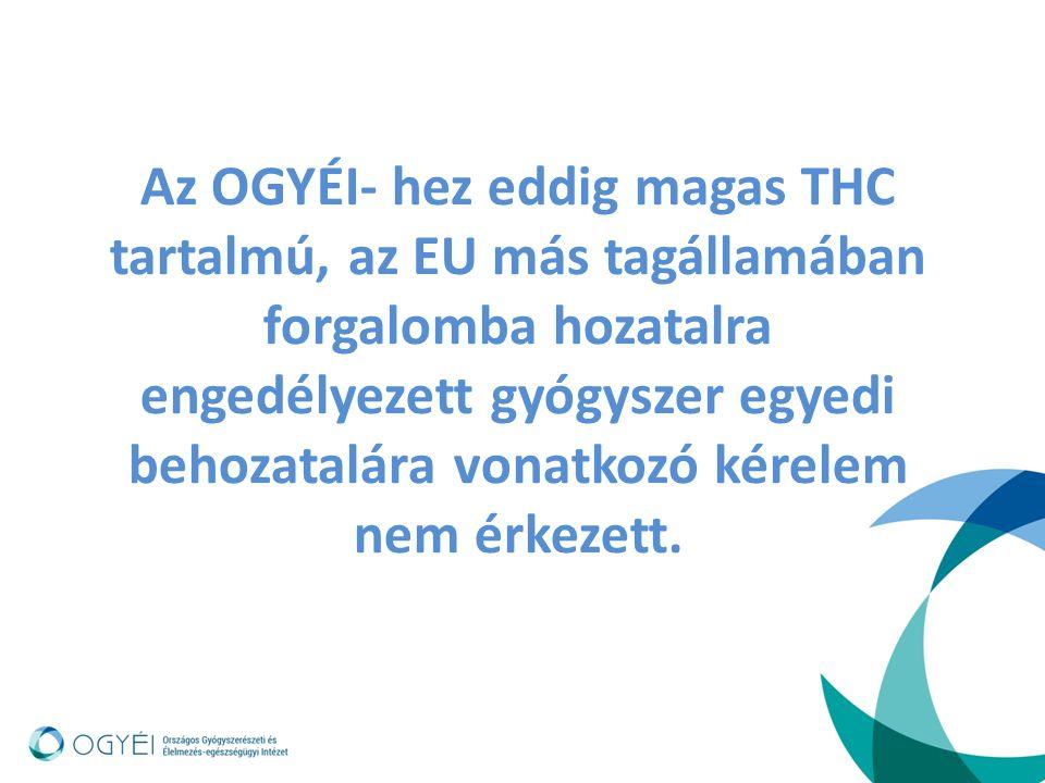 Az OGYÉI- hez eddig magas THC tartalmú, az EU más tagállamában forgalomba hozatalra engedélyezett gyógyszer egyedi behozatalára vonatkozó kérelem nem érkezett.